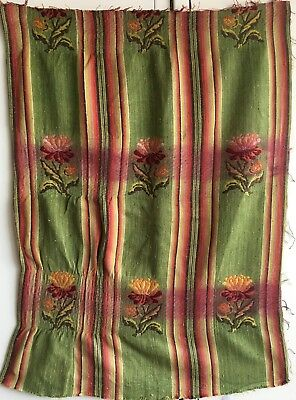 Beautiful 19th C. French Woven Silk Stripe with Banded Jacquard Element (2348)