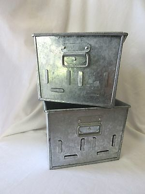 Set of 2 Metal Tin Organizer Boxes with Handles