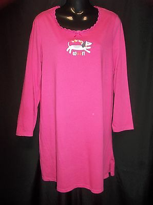 SIMPLY BASIC Hot Pink Soft Knit Night Gown Nightgown Size SMALL