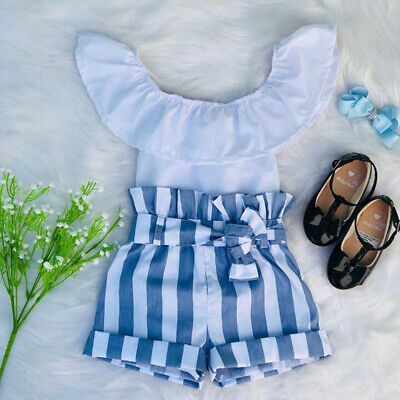 UK 2Pcs Toddler Baby Kids Girls Summer Clothes Tops Striped Shorts Pants Outfits