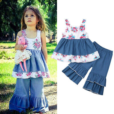 2PCS Toddler Kids Baby Girl Summer Clothes Ruffle Tops Skirts Pants Jeans Outfit