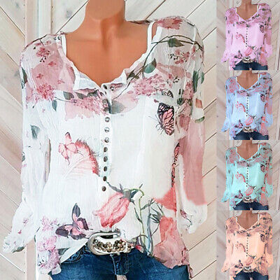 UK Womens Buttons Blouse Sheer Tee Floral Butterfly Ladies Tops Chiffon Summer