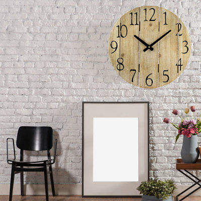Retro Wood Look Wall Clock Time Display Digits Numbers Hand Living Room Decor