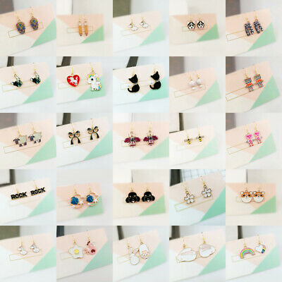 Nice Girl Love Cute Small CZ Cartoon Animal Studs Earrings Women's Jewelry Punk