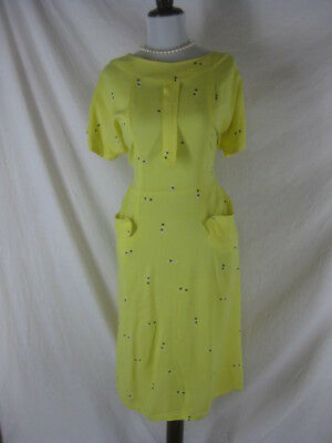 Vtg 40s 50s Yellow Womens Vintage Linen Polka Dot Cocktail Party Dress W 38