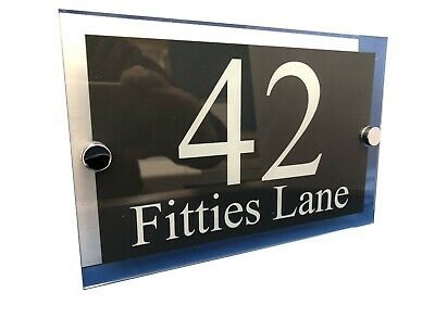 Contemporary House Signs Plaques Door Numbers 1 - 999 Personalised Name FREE P&P