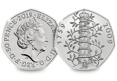 2019 Brilliant Uncirculated Kew Gardens 50p Fifty Pence Coin In its own card