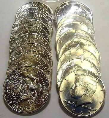 Roll 1964 Kennedy Silver Half Dollars Nice Au To Uncirculated 20 Coins #2