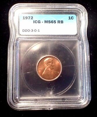 1972 Error Lincoln Cent Ddo 3-0-1 (Fs 103) Icg - Ms65 Rb Nice Certified Coin