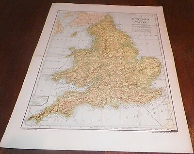 1907 Antique Map England & Wales  LL Poates Engr'g Co./Dodd Mead & Co. Railways