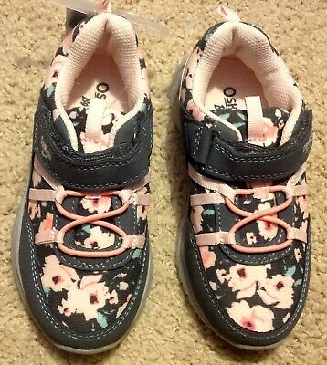 5384a3e59696a NWT OSHKOSH Kid Girl Size 11 Flower Tennis Shoes Sneakers EASY SLIP ON NEW