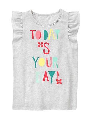 Gymboree ICE CREAM PARLOR Grey TODAY IS YOUR DAY Sequin Flutter Sleeve Tee NWT 6
