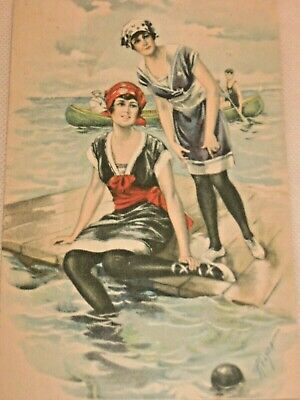 Vtg. Antique 1920s Swimsuit Pretty Lady Bathing Beauties Calendar Print Relyea