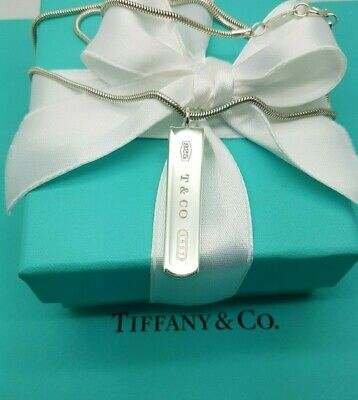 """Tiffany & Co 1837 Bar Charm Pendant Snake Chain 18"""" Necklace in Sterling Silver"""