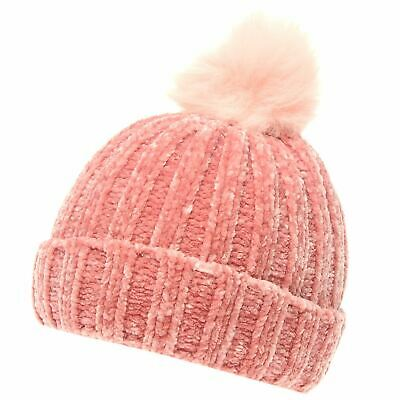 Crafted Essentials Kids Girls Chenille Hat Child Bobble Winter Faux Fur