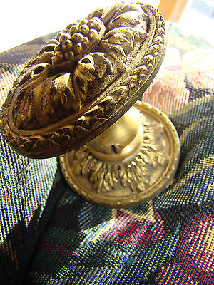 Antique Authentic Rare Victorian Solid Brass Fancy Cast Brass Knob Pull