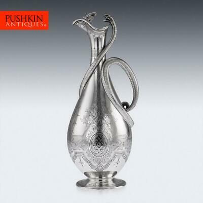 ANTIQUE 19thC VICTORIAN SOLID SILVER SNAKE WINE JUG, BARNARDS c.1863