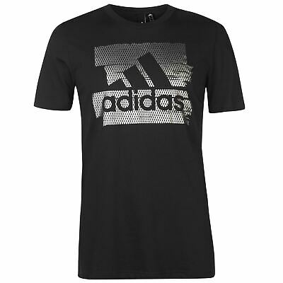 adidas Mens Badge Of Sport Foil Print T Shirt Crew Neck Tee Top Short Sleeve
