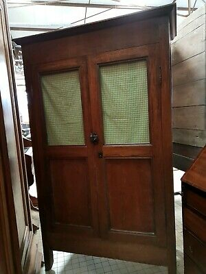 Antique French Early 19Thc Pitched Pine Kitchen/scullery Glass Door Cupboard