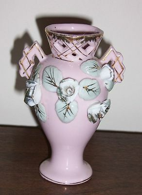 Vintage Pink ceramic pottery Vase with cut-outs & applied flowers - gold trim
