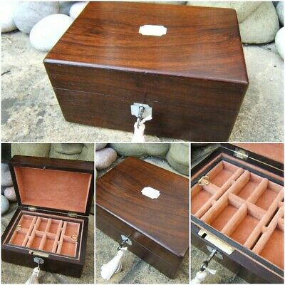 Lovely 19C Victorian Rosewood Inlaid Antique Jewellery Box - Fab Interior