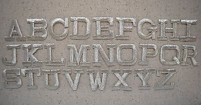 """SILVER - 1"""" Alphabet/Letters your choice - Iron on Applique/Embroidered Patch"""