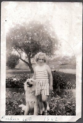 Vintage Photograph 1942 Dude The Farm Dog Puppy Little Girls Fashion Old Photo