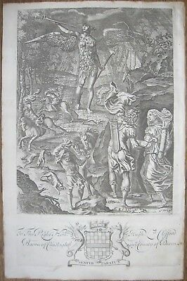 "1654 Antique P.Lombart Engraving - Virgil's ""Aeneis"" - Aeneus & Dido Hunting"