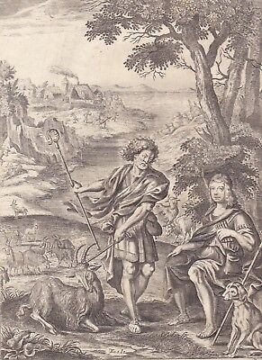 """1701 Antique Francis Cleyn Engraving - Virgil's """"Pastorals"""" - The First Pastoral"""