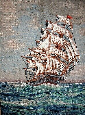 EP 2875 Tall Sailing Ship Boat Ocean Tramme Needlepoint Canvas & Yarn Kit