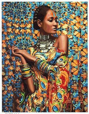 AFRICAN MODEL GIRL PAINT BY NUMBERS CANVAS PAINTING KIT 20 x 16 ins FRAMELESS