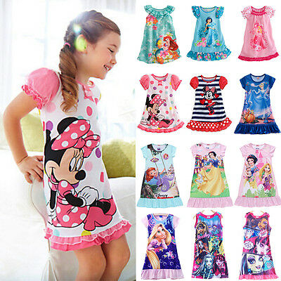 Kids Girls Minnie Princess Pajamas Nightdress Nightwear Sleepwear Summer Dress