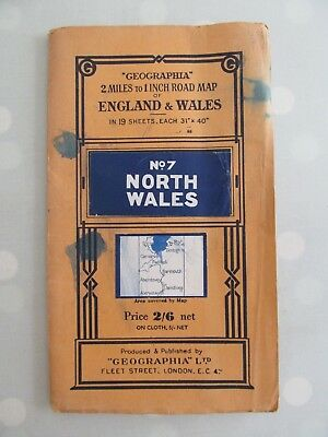 Geographia Vintage Map No 7 North Wales 2  Miles To 1 Inch Road Map
