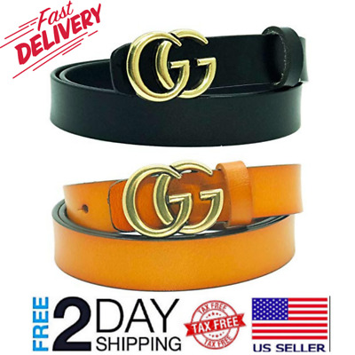 b1924341e Women G-Style Gold Buckle Leather Slim Belts Gucci Logo Pattern For Jeans  105 CM
