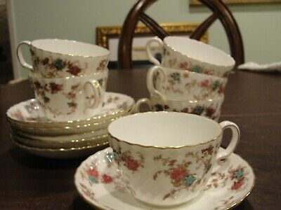 "Minton Ancestral 6 Cups 3 3/8"" By 2 1/2"" And 6 Saucers"