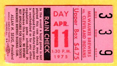 1975 Brewers Opening Day Ticket Stub-Hank Aaron 1St Game Back In Milw-4/11/75