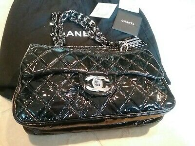 f17f65047803a0 Chanel Quilted Black Patent Leather Shoulder Bag, Authentic With Dust Bag