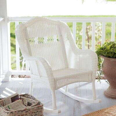 NEW Patio Porch Resin Wicker Rocking Chair Outdoor Traditional Sturdy Hardwood
