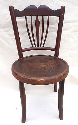 Art Nouveau Child Chair Fichel Bentwood Print Seating Factory Label