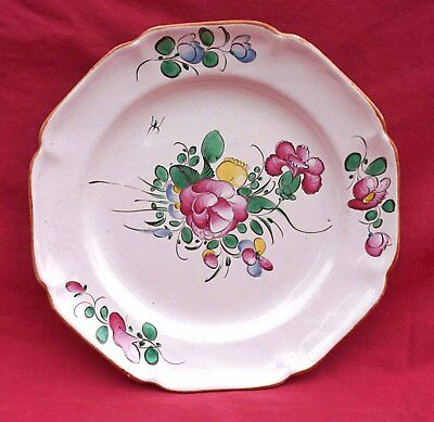 STRASBOURG French Hand Painted Faience Scalloped Plate Flower Bouquet 18th C