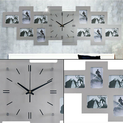 Wall Clock Picture Frame Living Room Photos Decoration Silver Time Hand Black