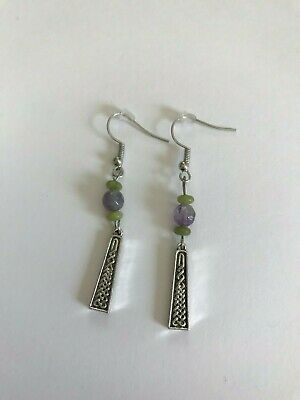 Connemara Marble Pillar Earrings with Amethyst Stone (Handmade in Ireland)