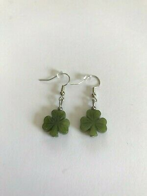 Connemara Marble Shamrock Earrings (Handmade in Ireland)