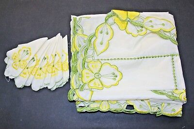 Vintage Embroidered White Linen Oval Tablecloth 8 Napkin Set 58x72 Green Yellow