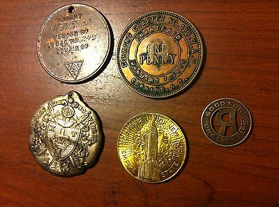 New York Tokens, masonic medal, 1866 Corning One Penny, Empire State RARE