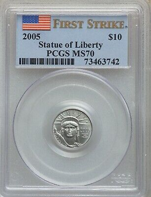 "2005 $10 Platinum Bullion Uncirculated Coin, ""First Strike"" Certified Pcgs Ms-70"