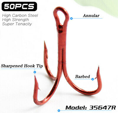 Lots 50pcs Sharpened Treble Red Fishing Hooks Size 2# 4# 6# 8# 10# Fishhook