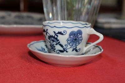 "2pc Blue Danube China Blue Floral Design 2"" Demitasse Cup and Saucer"