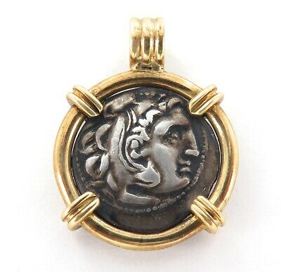 c320 BC, ALEXANDER THE GREAT / ZEUS SILVER COIN IN 14K SURROUND / PENDANT.