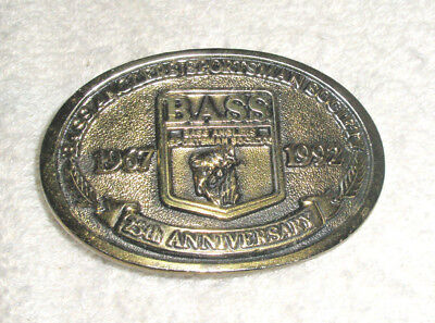 Vintage Brass Mens Bass Anglers Belt Buckle  25th Anniversary